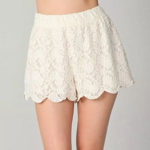 FREE PEOPLE Lace Scalloped High Waisted Shorts